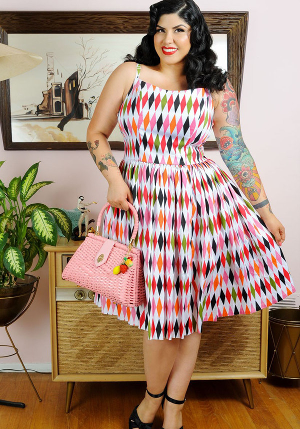 50s style 50s style vintage dress printed dress curvy