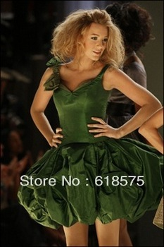 A line v neck spaghetti straps taffeta short blake lively green cocktail dresses