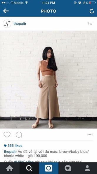 pants nude cream culottes