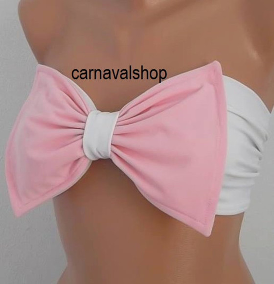 swimwear bikini spandex pink beach bow bandeau bows sun bathing fashion women gift dress eccessories scarf skirt