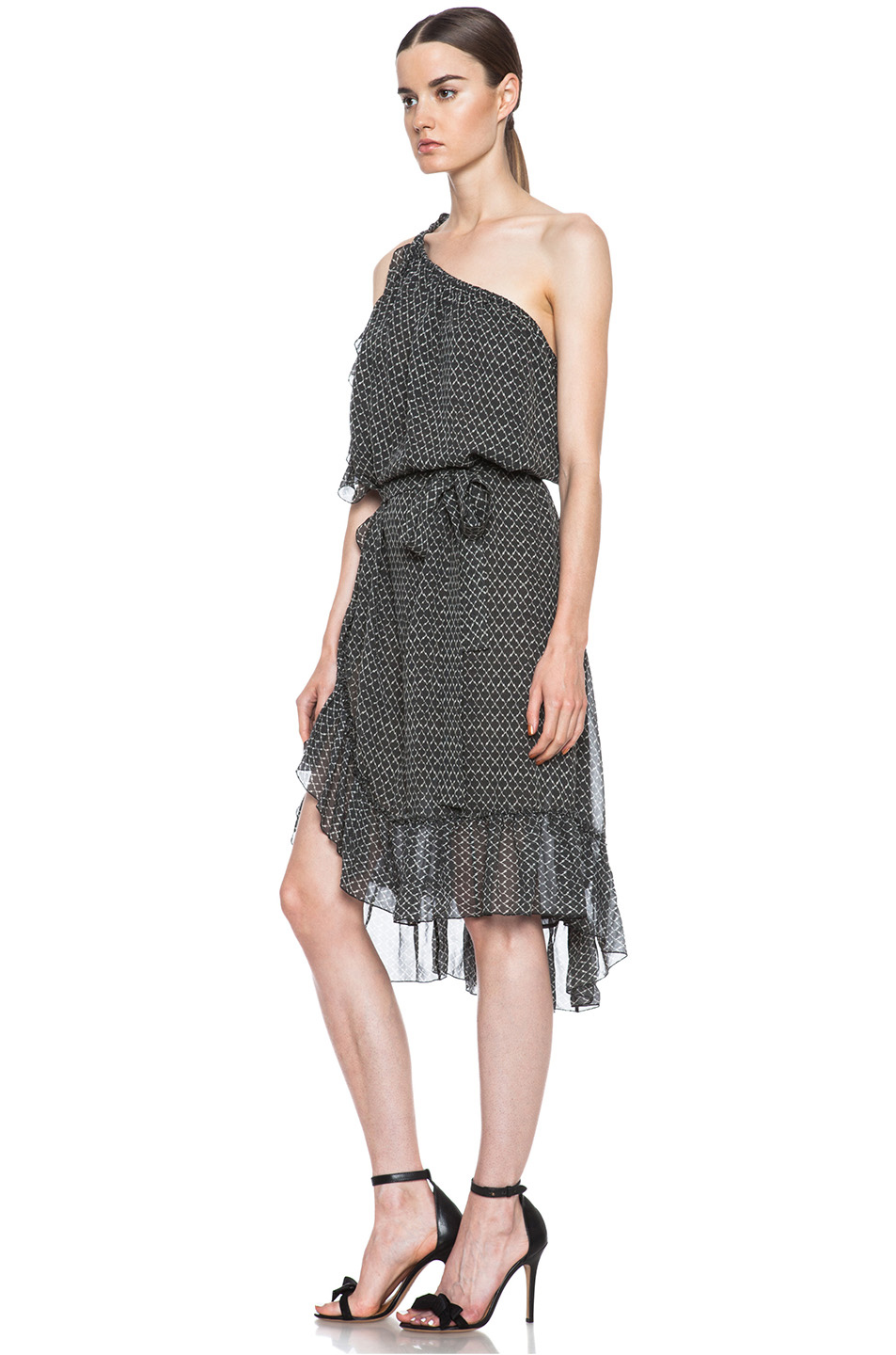 Aiden silk dress in black