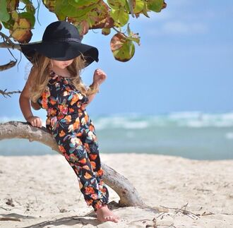jumpsuit floral floral jumpsuit summer summer outfits kids jumpsuit floral romper hat floppy hat sun hat style beach kids fashion toddler