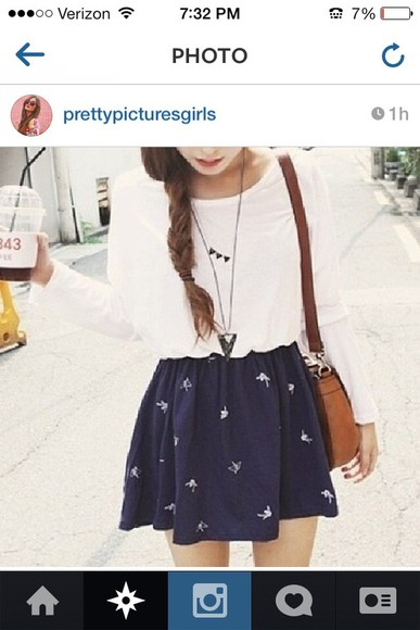 long sleeve white dress skirt cute blue girly tumblr instagram bored ahaha necklace this