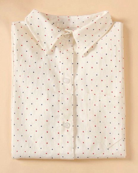 white white shirt shirt polka dots polka dots shirt red dots blue dots
