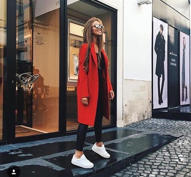 coat long coat fall coat red coat red long jacket mantel coat style red long coat textile autumn/winter
