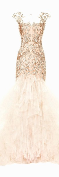 dress embellished marchesa champagne mermaid prom dress gemstone
