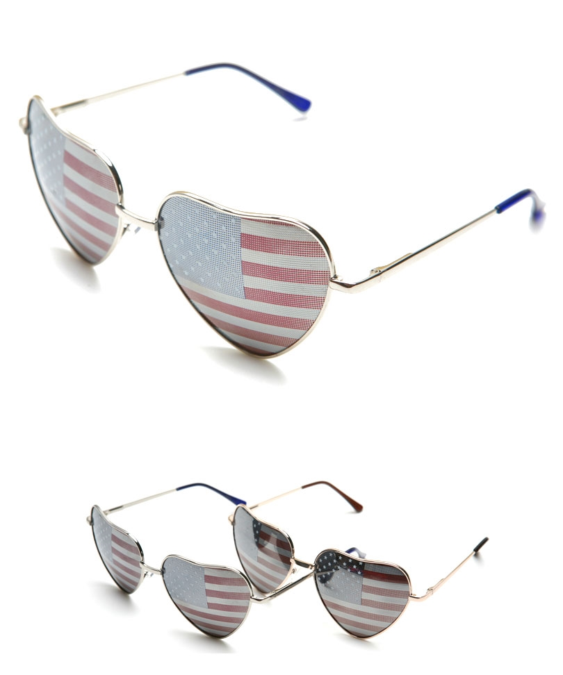 Multi Sun glasses - Heart Shape USA Flag Aviator | UsTrendy