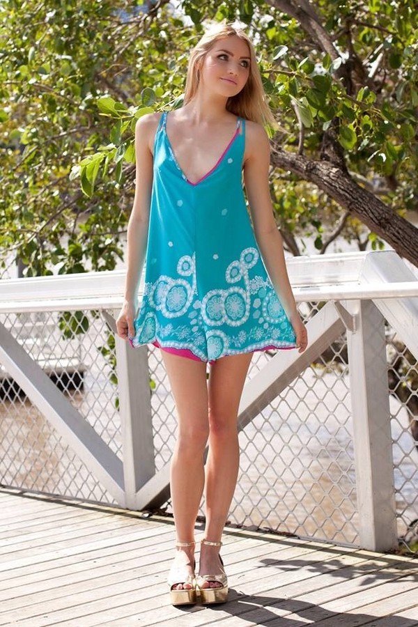 dress turquoise pink white romper romper cute pretty criss cross criss cross