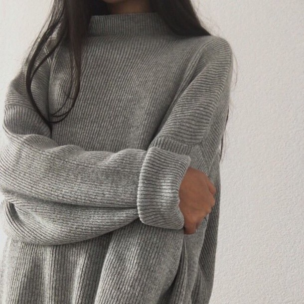 Sweater Tumblr Grey Aesthetic Turtleneck Grey Sweater