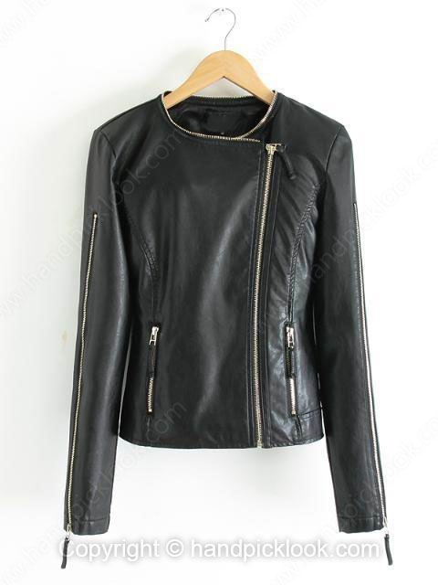 Black Collarless Long Sleeve Leather Coat - HandpickLook.com