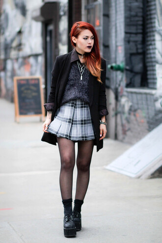 le happy blogger jacket jewels plaid skirt fluffy blazer ombre blouse