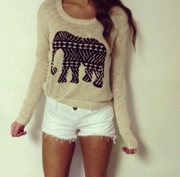 sweater elephant cream beige pattern black cute winter outfits top long sleeves ily gorgoeus amazing white shorts denim