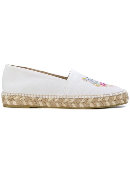 Kenzo rainbow women tiger espadrilles leather white cotton shoes