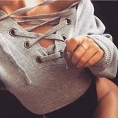 sweater,lace up,sweatshirt,grey,chunky,crop tops