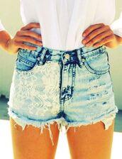 shorts,denim,blue,high,waist,jeans,cut off shorts,high waisted denim shorts,blue jean with lace,denim shorts,lace shorts