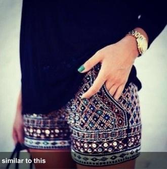 shorts gemstone style multi colored