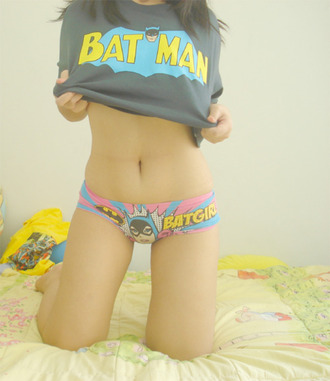 underwear batman batgirl pink blue yellow nerd geek comics