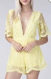 romper,yellow,lace,v cut