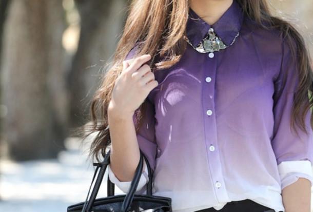 blouse ombre shirt purple ombre bleach dye ombre shirt swag jolie mignon lovely purpel button up