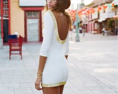 white dress,dress,cute dress,fashion,style,moda,clothes,white,gold,white and gold dress,gold and white dress,sparkly dress,cream,neutral,pretty,gold dress,homecoming dress,love,hot dress,strapless dress,tube dress,hot,escloset,new york city,open back,open back dresses,white gold lowback scoop short pretty,studs,low back,long-sleeve,mini,gold sequins,bodycon,sexy party dresses,backless dress,summer dress,white gold,details,sexy,sequins,white/gold,white gold dress,white gold tight sleeves,backless white dress,gold trim,white cocktail dress,cocktail dress,gold trimmed,cutout back,low back dress,scoop back dress,long sleeves,long sleeve dress,black and gold,white and gold,party dress,bodycon dress,party outfits,sexy dress,sexy outfit,summer outfits,spring dress,spring outfits,fall dress,fall outfits,winter dress,winter outfits,classy dress,elegant dress,cute,girly,girly dress,date outfit,birthday dress,holiday dress,summer holdiays,summer holidays,clubwear,club dress,graduation dress,wedding dress,wedding clothes,wedding guest,engagement party dress,dope,short,short homecoming dress,homecoming,white short dress,hair accessory