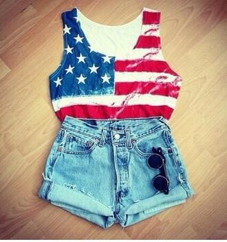 tank top american flag crop tops sleeveless