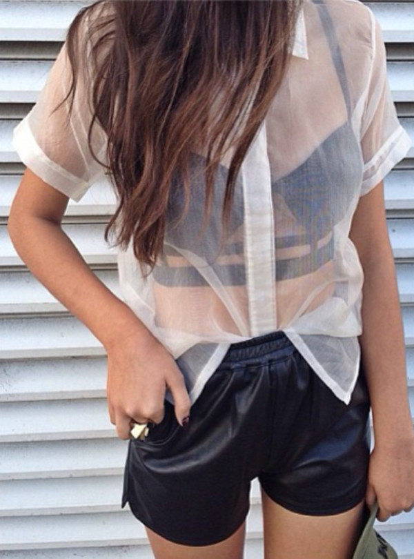 shirt shorts clothes bralette leather sheer bralette leather shorts black white dress tank top blouse crop tops