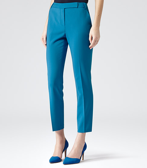 Joanna Turkish Blue Fitted Tailored Trousers - REISS