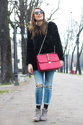 style and trouble,shoes,bag,jewels,sweater,jeans,coat,sunglasses