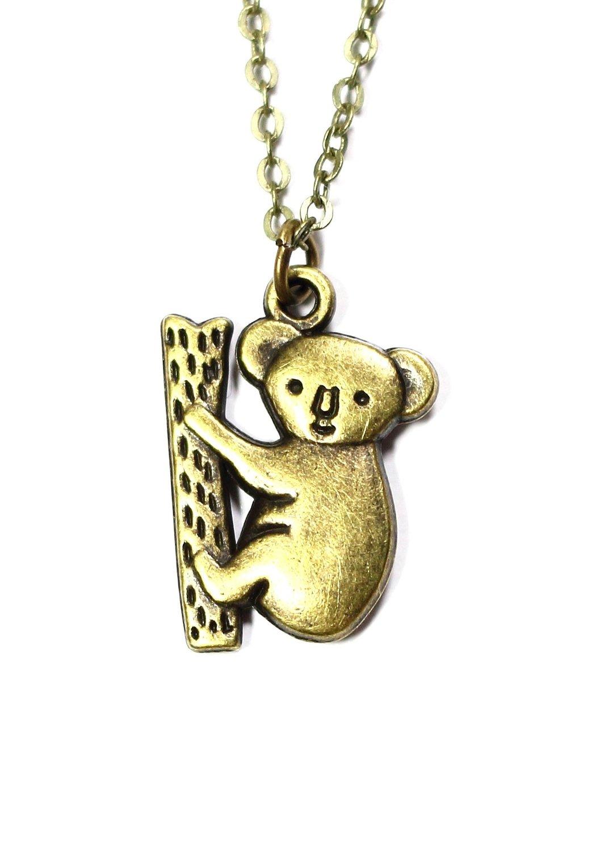 Amazon.com: Climbing Koala Bear Necklace Vintage Gold Tone Pendant Australia NO07 Fashion Jewelry: Jewelry