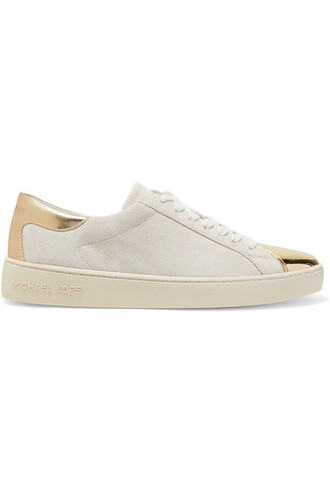 suede sneakers metallic sneakers gold leather suede shoes