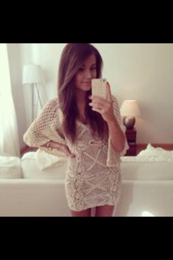 sweater dress white crochet dress crochet white off-white summer outfits
