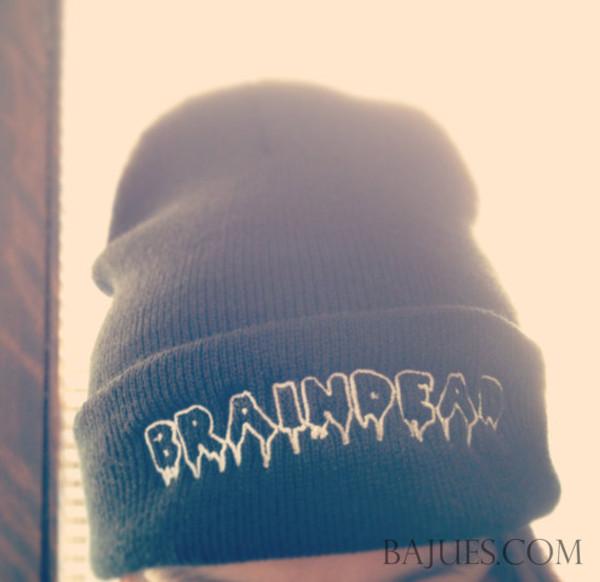 hat braindead beanie black beanie cool 90s style vintaghe grunge