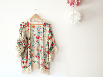 cardigan kimono fleur rouge bleu ecru frange boheme été girl cute summer spring orange bohokimono veste gilet girly fringes floral boho gypsy hippie festival vintage fashion romantic