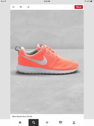shoes nike running shoes nike roshe run peach coral roshes trainers running shoes orange pattern neon sneakers corail