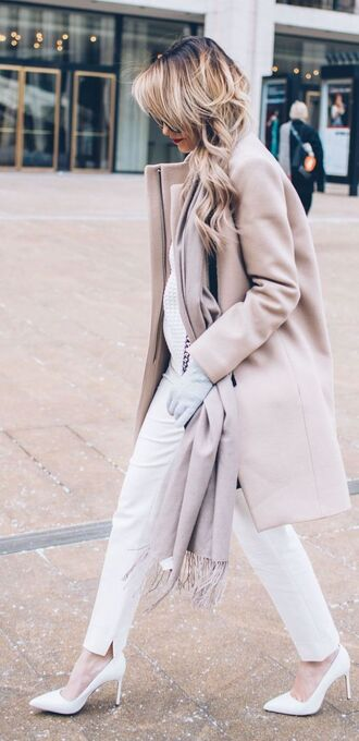 coat white and beige outfit white and beige beige coat scarf pants white pants pumps pointed toe pumps high heel pumps white shoes winter outfits winter look tumblr tumblr outfit