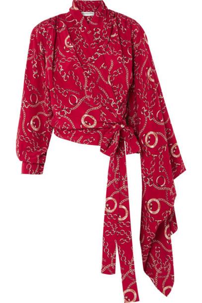 Balenciaga blouse silk red top