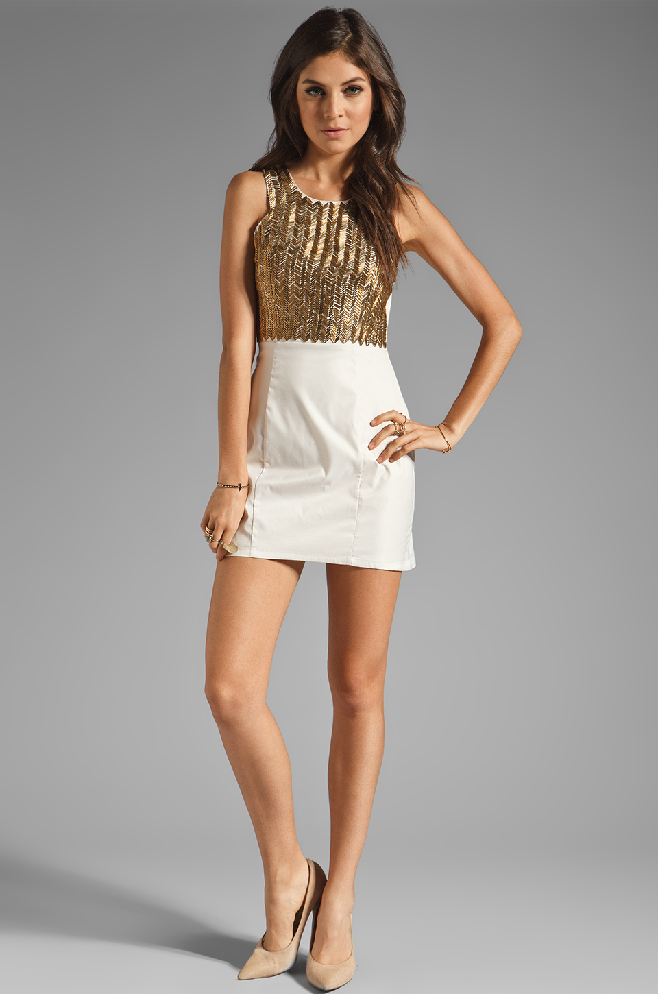 keepsake All-Nighter Dress in Cream & Gold Beads | REVOLVE