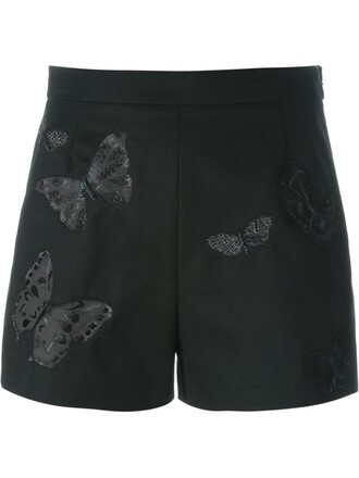 shorts embroidered butterfly black