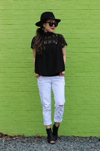 blogger gracefullee made top jeans sunglasses hat jewels shoes