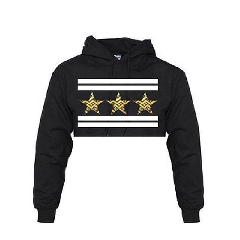 3 star crop top hoodie