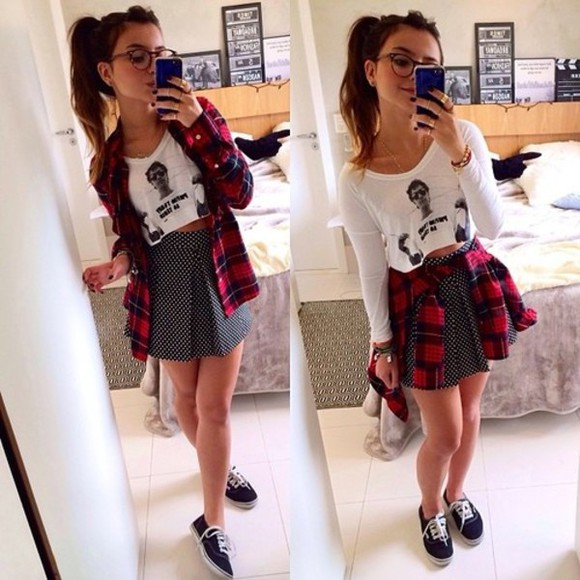 crop tops circle skirt shirt vans flannel shirt