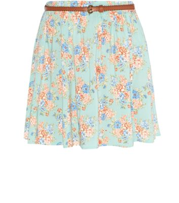 Mint Green Floral Print Belted Skater Skirt