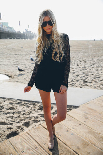 barefoot blonde blogger romper black lace aviator sunglasses loafers sunglasses shoes make-up