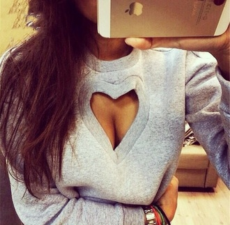 sweater jumper grey sweater heart cool want want want! sweet girl girly