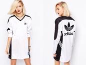 dress,adidas,black and white,rita ora,adidas dress
