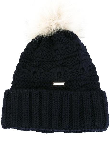 Woolrich fur fox women beanie blue wool hat