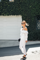 top,tumblr,white top,off the shoulder,off the shoulder top,denim,jeans,white jeans,shoes,mid heel sandals,mules