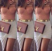 belt,lv clutch,bustier,hi low skirt,colorful,designer,skirt,bag,high low skirt,tank top