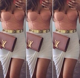 belt lv clutch bustier hi low skirt colorful designer skirt bag high low skirt tank top