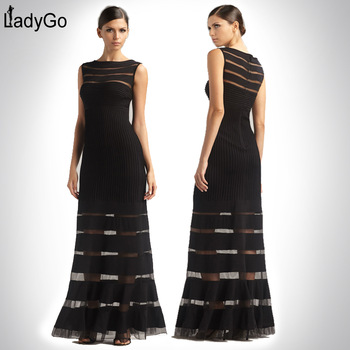 Aliexpress.com : Buy LADY GO New Fashion 2014 Knitted Mesh Stripe Sexy Classic Black Gown Maxi Dress H428 Long Dress Elegant Long Evening Dress from Reliable dresses at discount prices suppliers on Lady Go Fashion Shop